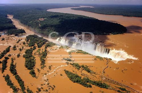 Iguassu, Brazil. Aerial view of the Iguassu falls in full flood.