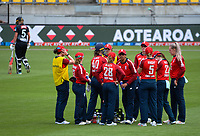 England celebrates the wicket of Maddy Green during the first international women's T20 cricket match between the New Zealand White Ferns and England at Sky Stadium in Wellington, New Zealand on Wednesday, 3 March 2021. Photo: Dave Lintott / lintottphoto.co.nz