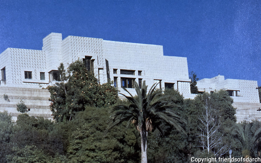 Frank Lloyd Wright:  Ennis-Brown House. Used textile block and Mayan motif. NRHP 1971. Photo Sept. 1989.