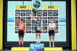 Elizabeth Deignan (GBR) Trek-Segafredo wins with Marianne Vos (NED) CCC-LIV 2nd and Demi Vollering (NED) Parkhotel Valkenburg in 3rd place on the podium at the end of La Course By Le Tour de France 2020, running 96km from Nice to Nice, France. 29th August 2020.<br /> Picture: ASO/Alex Broadway | Cyclefile<br /> All photos usage must carry mandatory copyright credit (© Cyclefile | ASO/Alex Broadway)