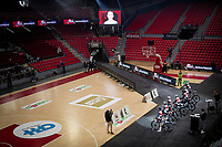 Team Trek-Segafredo at the team presentation inside the empty Spirou Basketbal Dome in Charleroi<br /> <br /> 85th La Flèche Wallonne 2021 (1.UWT)<br /> 1 day race from Charleroi to the Mur de Huy (BEL): 194km<br /> <br /> ©kramon