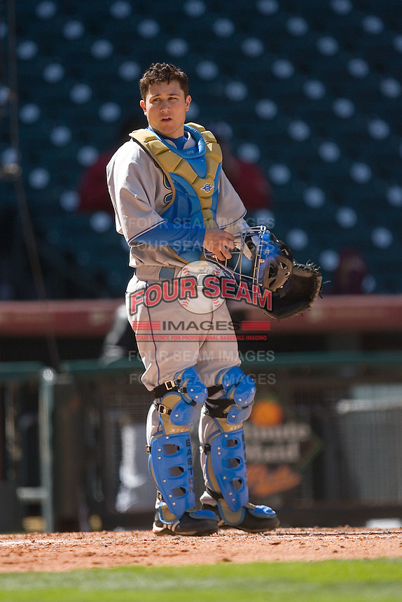 Catcher Steve Rodriguez #3 of the UCLA Bruins on defense versus the UC-Irvine Anteaters in the 2009 Houston College Classic at Minute Maid Park March 1, 2009 in Houston, TX.  The Anteaters defeated the Bruins 7-4. (Photo by Brian Westerholt / Four Seam Images)