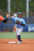 Tampa Bay Rays Jelfry Marte (76) throws to first base on a double play attempt during a Florida Instructional League game against the Baltimore Orioles on October 1, 2018 at the Charlotte Sports Park in Port Charlotte, Florida.  (Mike Janes/Four Seam Images)