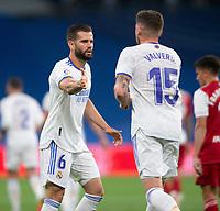 12th September 2021; Estadio Santiago Bernabeu, Madrid, Spain; La Liga, Real Madrid CF versus RC Celta de Vigo; Nacho Fernandez congratulates Fede Valverde during the game