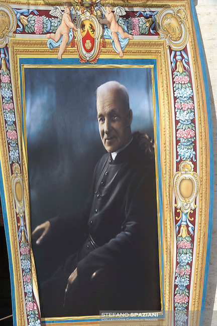 A tapestry depicting Canadian Andre Bessette hangs on the facade of Saint Peter's Basilica during a canonization mass in St. Peter's square, Vatican, 17 October 2010. The pope formally recognized Australia's first saint, Sister Mary MacKillop, who is revered as a pioneer of education in Outback Australia and the founder of the Sisters of St Joseph of the Sacred Heart. She was canonised along with Stanislaw Soltys of Poland, Andre Bessette of Canada, Candida Maria de Jesus Cipitria y Barriola of Spain, and Italians Giulia Salzano and Battista da Varano