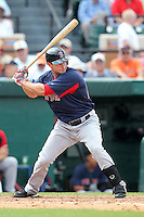 Boston Red Sox outfielder Daniel Nava #60 at bat during a spring training game vs. the Detroit Tigers at Joker Marchant Stadium in Lakeland, Florida;  March 15, 2011.  Boston defeated Detroit 2-1.  Photo By Mike Janes/Four Seam Images