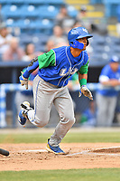 Lexington Legends designated hitter MJ Melendez (7) runs to first base during a game against the Asheville Tourists at McCormick Field on May 25, 2018 in Asheville, North Carolina. The Tourists defeated the Legends 6-4. (Tony Farlow/Four Seam Images)