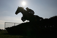 Van Doesburg ridden by Hadden Frost in jumping action in the Canterbury Horse Rescue Maiden Hurdle - Horse Racing at Folkestone Racecourse, Westenhanger, Kent - 29/02/12 - MANDATORY CREDIT: Gavin Ellis/TGSPHOTO - Self billing applies where appropriate - 0845 094 6026 - contact@tgsphoto.co.uk - NO UNPAID USE.