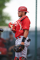 Cincinnati Reds Maikel Lopez (67) during an instructional league game against the Cleveland Indians on October 17, 2015 at the Goodyear Ballpark Complex in Goodyear, Arizona.  (Mike Janes/Four Seam Images)