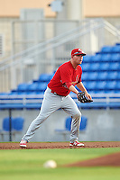 Palm Beach Cardinals first baseman Casey Grayson (29) during a game against the Dunedin Blue Jays on April 15, 2016 at Florida Auto Exchange Stadium in Dunedin, Florida.  Dunedin defeated Palm Beach 8-7.  (Mike Janes/Four Seam Images)