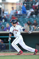 Carlos Correa #1 of the Lancaster JetHawks bats against the Lake Elsinore Storm at The Hanger on April 4, 2014 in Lancaster, California. Lake Elsinore defeated Lancaster, 6-1. (Larry Goren/Four Seam Images)