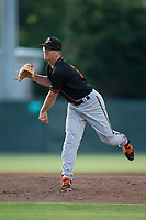 Delmarva Shorebirds Alex Wells (31) follows through on his delivery against the Kannapolis Intimidators at Kannapolis Intimidators Stadium on June 30, 2017 in Kannapolis, North Carolina.  The Shorebirds defeated the Intimidators 6-4.  (Brian Westerholt/Four Seam Images)