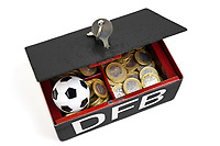 7th October 2020, FRankfurt, Germany; The DFB German Football League offices are raided by the German Anti-Fraud squad;  A money lock box with DFB logo