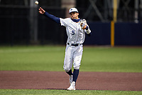 Dallas Jesuit Rangers shortstop Jordan Lawlar (5) throws to first base during a game against the Richardson Eagles on April 24, 2021 at Wright Field in Dallas, Texas.  (Ken Murphy/Four Seam Images)