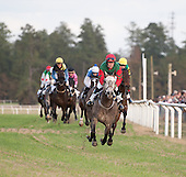 Crookshane Lad and Niall Malloy lead the field round the clubhouse turn in the Bob Witham Memorial flat race.