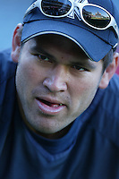 Johnny Damon of the New York Yankees during batting practice before a 2007 MLB season game  against the Los Angeles Angels at Angel Stadium in Anaheim, California. (Larry Goren/Four Seam Images)