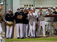 Sarasota Sailors celebrate a run scored during a game against the Riverview Rams on February 19, 2021 at Rams Baseball Complex in Sarasota, Florida. (Mike Janes/Four Seam Images)