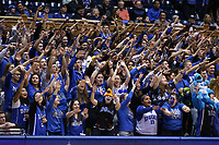 DUKE, NC - FEBRUARY 15: Duke University's Cameron Crazies during a game between Notre Dame and Duke at Cameron Indoor Stadium on February 15, 2020 in Duke, North Carolina.