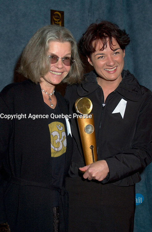 February 23, 2003, Montreal, Quebec, Canada<br /> <br /> Actress Genevievre Bujold (L) and Film Maker Manon Briand (R)  poses for  photographerswith Briand's Jutra award (for the film with the most international achievement),February 23, 2003 in Montreal, Quebec, Canada<br /> <br /> <br /> <br /> <br /> PHOTO :  Agence Quebec Presse