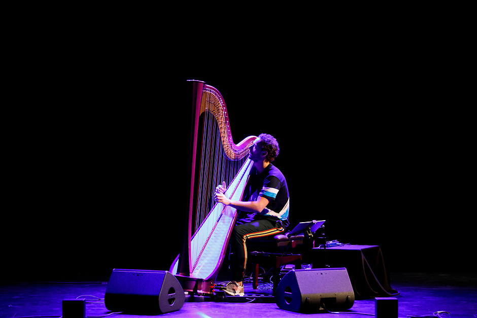 Remy van Kesteren performs during his laureate recital at the 11th USA International Harp Competition at the Buskirk-Chumley Theater in Bloomington, Indiana on Saturday, July 6, 2019. (Photo by James Brosher)