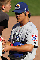 Peoria Chiefs Jae-Hoon Ha (18), who hit for the cycle, during a game vs. the Kane County Cougars at Elfstrom Stadium in Geneva, Illinois August 15, 2010.   Peoria defeated Kane County 8-4.  Photo By Mike Janes/Four Seam Images