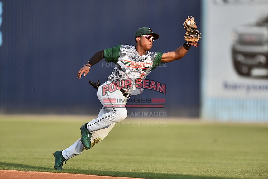 Augusta GreenJackets second baseman Jalen Miller (5) fields ball during a game against the Asheville Tourists at McCormick Field on July 21, 2016 in Asheville, North Carolina. The GreenJackets defeated the Tourists 6-3. (Tony Farlow/Four Seam Images)