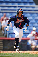 Binghamton Mets second baseman L.J. Mazzilli (7) runs to first during a game against the Richmond Flying Squirrels on June 26, 2016 at NYSEG Stadium in Binghamton, New York.  Binghamton defeated Richmond 7-2.  (Mike Janes/Four Seam Images)