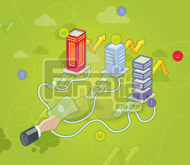 Illustration of investor's hand with money depicting concept of investment