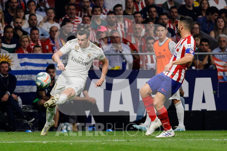Jorge Resurreccion 'Koke' of Atletico de Madrid and Gareth Bale of Real Madrid during La Liga match between Atletico de Madrid and Real Madrid at Wanda Metropolitano Stadium in Madrid, Spain. September 28, 2019. (ALTERPHOTOS/A. Perez Meca)