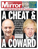 Daily Mirror newspaper Front page reporting on Prime Minister's TV Address to the Nation. May 25th 2020