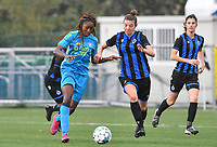 Union's Veronique Zang Bikoula pictured in a fight for the ball with Brugge's Nicky Van Den Abbeele during a female soccer game between the women teams of Club Brugge YLA Dames and Union Saint-Ghislain Tertre-Hautrage Ladies on the 1/16 th qualifying round for the Belgian Womens Cup 2020  2021 , on saturday 26 th of September 2020  in Brugge , Belgium . PHOTO SPORTPIX.BE | SPP | DAVID CATRY