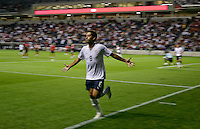 USMNT midfielder Clint Dempsey (8) scores the second goal against Trinidad & Tobago. The USMNT defeated Trinidad & Tobago 3-0 at Toyota Park in Bridgeview, IL on Sept. 10, 2008.