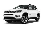 Stock pictures of low aggressive front three quarter view of a 2017 Jeep Compass Limited 5 Door SUV