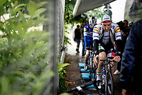 Italian champion Elia Viviani (ITA/Deceuninck-QuickStep) warming up before a super rainy stage 5<br /> <br /> Stage 5: Frascati to Terracina (140km)<br /> 102nd Giro d'Italia 2019<br /> <br /> ©kramon