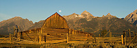 Grand Tetons with Mormon Mill Barn and Moon at sunrise