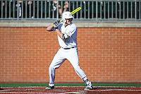 Zach Jarrett (10) of the Charlotte 49ers at bat against the Xavier Musketeers at Hayes Stadium on March 3, 2017 in Charlotte, North Carolina.  The 49ers defeated the Musketeers 2-1.  (Brian Westerholt/Four Seam Images)
