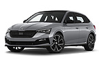 Stock pictures of low aggressive front three quarter view of 2020 Skoda Scala Monte-Carlo 5 Door Hatchback Low Aggressive