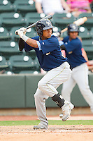 Teodoro Martinez #20 of the Myrtle Beach Pelicans at bat against the Winston-Salem Dash at BB&T Ballpark on July 5, 2012 in Winston-Salem, North Carolina.  The Dash defeated the Pelicans 12-5.  (Brian Westerholt/Four Seam Images)