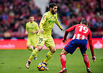 Jorge Molina Vidal (L) of Getafe CF competes for the ball with Lucas Hernandez of Atletico de Madrid during the La Liga 2017-18 match between Atletico de Madrid and Getafe CF at Wanda Metropolitano on January 06 2018 in Madrid, Spain. Photo by Diego Gonzalez / Power Sport Images