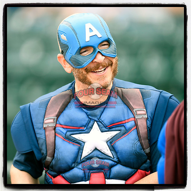 #OTD On This Day, August 8, 2017, John Katz, president of the Columbia Fireflies, dressed as Captain America for Superheroes Night before a game against the Charleston RiverDogs at Spirit Communications Park in Columbia, South Carolina. Charleston won, 5-2. (Tom Priddy/Four Seam Images) #MiLB #OnThisDay #MissingBaseball #nobaseball #stayathome #minorleagues #minorleaguebaseball #Baseball #SallyLeague #AloneTogether