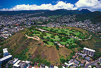 An aerial view of Punchbowl Memorial.A cemetary for military veterans.  Located just minutes from downtown Honolulu,Oahu.