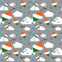 """Seamless repeatable pattern vector background with Indian flag kites flying in sky with clouds and birds.<br /> <br /> Suitable for projects related to Indian Republic Day (26th January), Indian Independence Day (15th August) or other Indian patriotic themes.<br /> <br /> Available also as latest EPS format (Scalable to infinite size) and PNG format.<br /> <br /> WANT TO ZOOM IN ON JUST THE BASE TILE OF THIS PATTERN TO HAVE A CLOSER LOOK?<br /> <br /> You can also find the image of a single tile of this pattern in this gallery.<br /> <br /> Tip: It should be the image next to this one, or, just search """"seamless+kites+India""""!"""