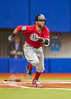 1 April 2016: Boston Red Sox second baseman Dustin Pedroia in action during a pre-season exhibition series between the Toronto Blue Jays and the Boston Red Sox at Olympic Stadium in Montreal, Quebec, Canada. The Red Sox defeated the Blue Jays 4-2 in the first of two MLB weekend games, which saw an attendance of 52,682 at the former home on the Montreal Expos. Mandatory Credit: Ed Wolfstein Photo *** RAW (NEF) Image File Available ***