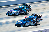 Nov 1, 2020; Las Vegas, Nevada, USA; NHRA funny car driver Steven Densham (near) alongside Blake Alexander during the NHRA Finals at The Strip at Las Vegas Motor Speedway. Mandatory Credit: Mark J. Rebilas-USA TODAY Sports