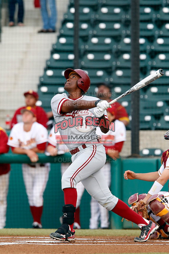 Brian Ragira #11 of the Stanford Cardinal bats against the USC Trojans at Dedeaux Field on April 5, 2013 in Los Angeles, California. (Larry Goren/Four Seam Images)