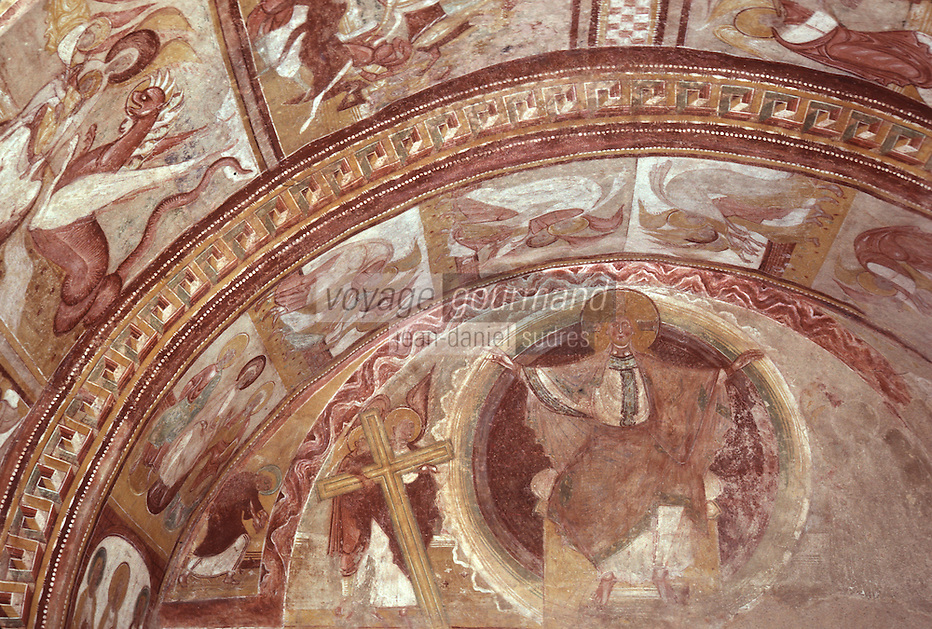 Europe/France/Poitou-Charentes/86/Vienne/Saint-Savin: Eglise romane de l'Abbaye Saint Savin sur Gartempe, fresque du porche