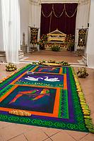 Antigua, Guatemala.  Alfombra (Sawdust Carpet) inside the Church of San Jose, Symbolizing the Fruits of the Garden of Gethsemane.