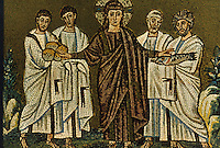 Ravenna: Mosaic--The Multiplication of the loaves and fishes, 6th century. Basilica of Nuovo Sant'Apollinare.