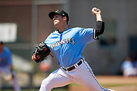 Erie SeaWolves pitcher Trent Szkutnik (35) during an Eastern League game against the Akron RubberDucks on June 2, 2019 at UPMC Park in Erie, Pennsylvania.  Erie defeated Akron 8-5 in eleven innings in the second game of a doubleheader.  (Mike Janes/Four Seam Images)