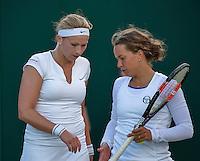 London, England, 2 July, 2016, Tennis, Wimbledon, Womans Doubles: Michaella Krajicek (NED) and her partner Barbora Zahlavova Strycova (CZE) (R)<br /> Photo: Henk Koster/tennisimages.com